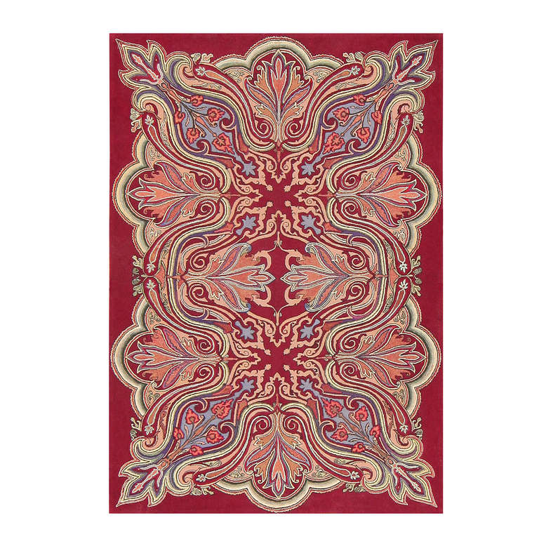 Rare Antique Art Nouveau American Hooked Rug At 1stdibs