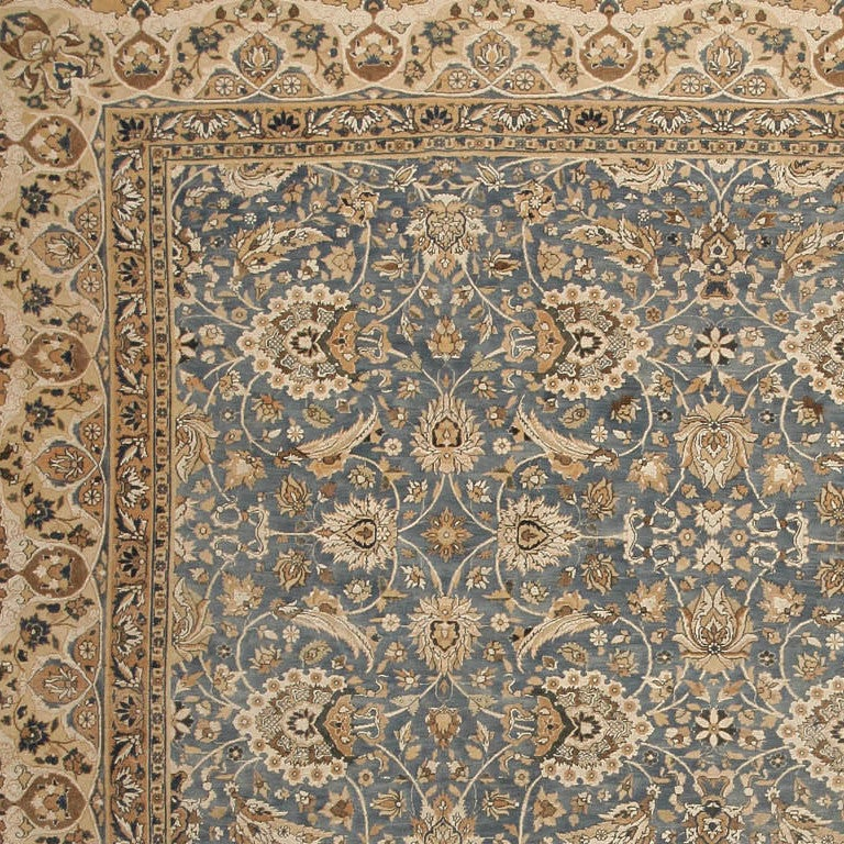 Ivory Wool And Silk Persian Naein Area Rug For Sale At 1stdibs: Antique Wool And Silk Tehran Rug For Sale At 1stdibs