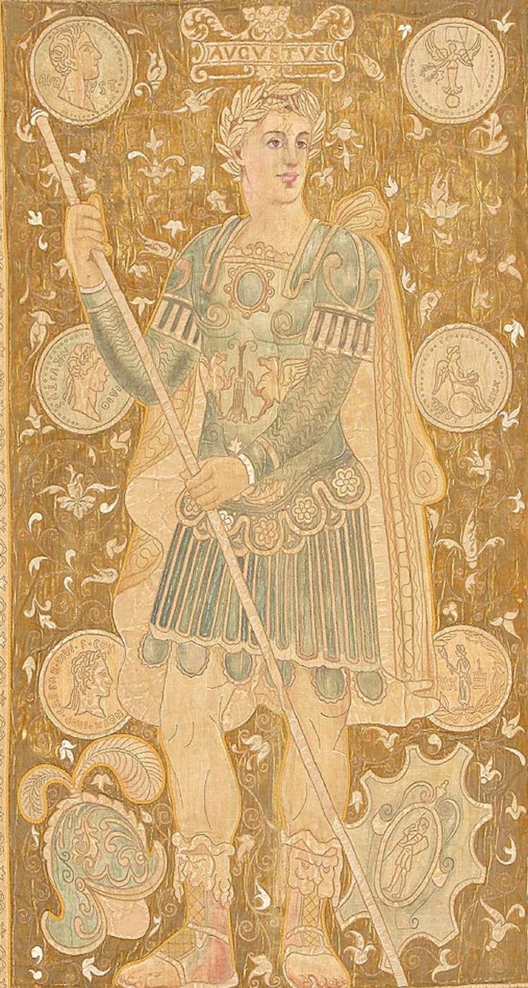 Classical Roman Antique Italian Tapestry Caesar Augustus. Size: 8 ft x 12 ft (2.44 m x 3.66 m) For Sale