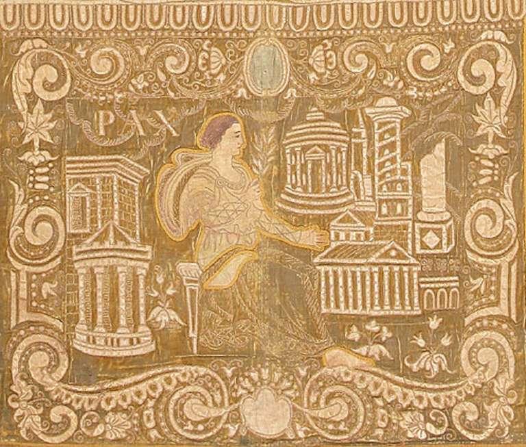19th Century Antique Italian Tapestry Caesar Augustus. Size: 8 ft x 12 ft (2.44 m x 3.66 m) For Sale