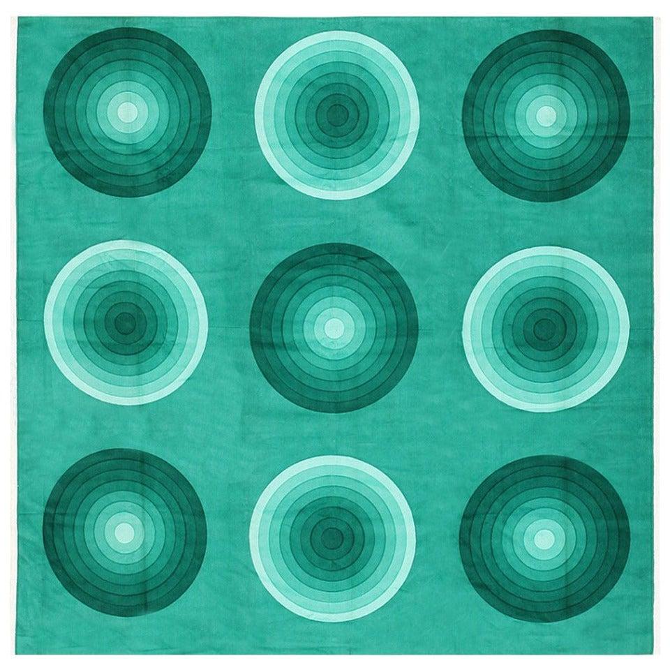 Vintage Verner Panton Kreis 'Spectrum' Textile in Green