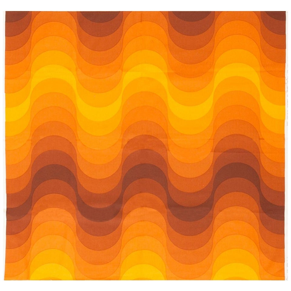 "Vintage Verner Panton ""Welle"" (Wave) Textile in Orange. Size: 4 ft x 4 ft 1 in"