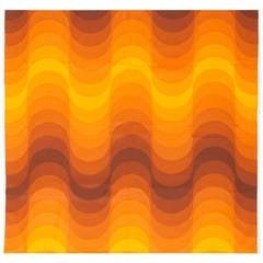 "Vintage Verner Panton ""Welle"" (Wave) Textile in Orange"