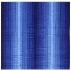 Vintage Verner Panton Gradient Textile in Blue. Size: 3 ft 10 in x 3 ft 10 in