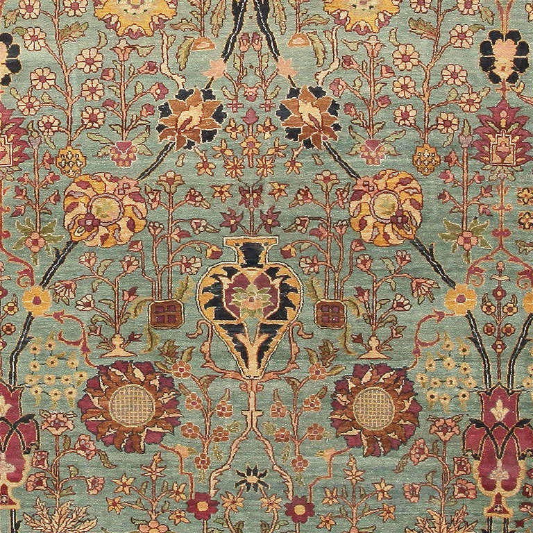 19th Century Antique Agra Rug For Sale