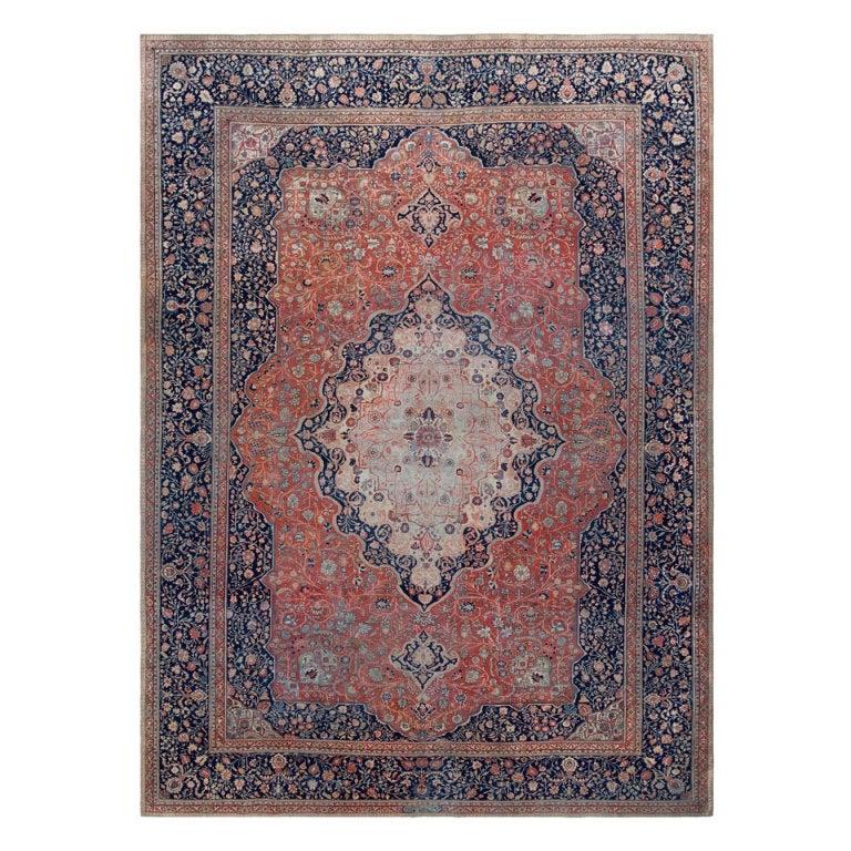 Antique Persian Mohtashem Kashan Rug 1