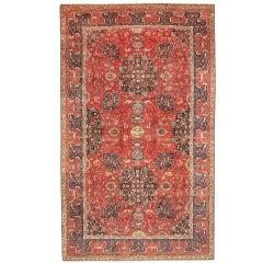 Antique Silk and Wool Indian Agra Rug