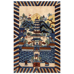 Chinese Deco Rug with Pagoda Scene