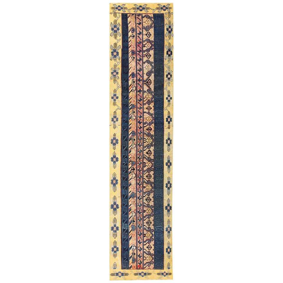 Antique Khotan Runner Rug from East Turkestan For Sale