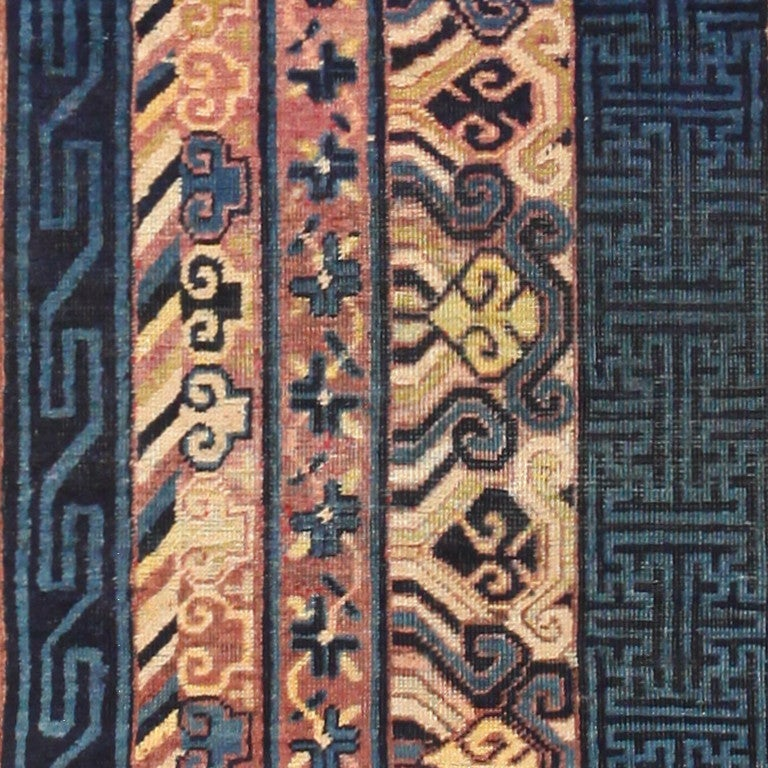Wool Antique Khotan Runner Rug from East Turkestan For Sale