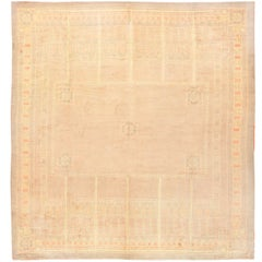 Beautiful Light Colored French Deco Rug. Size: 13 ft 7 in x 14 ft 2 in