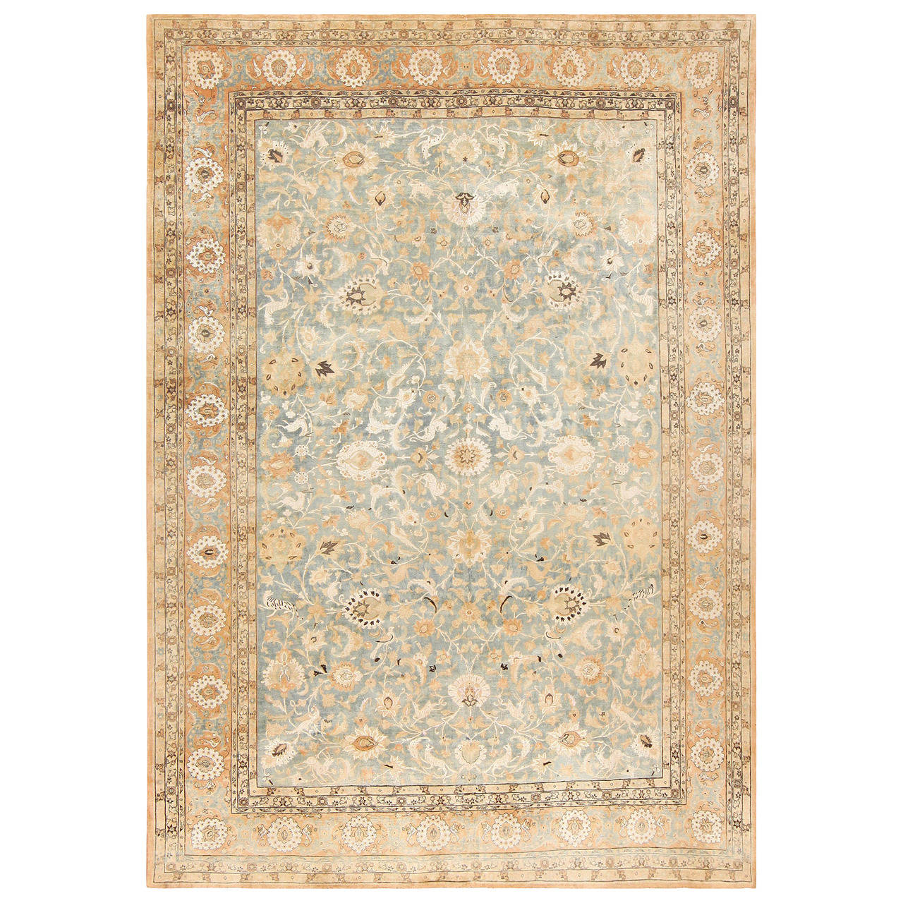 Persian Rugs For Sale: Fine SIlk And Wool Antique Persian Tehran Rug For Sale At