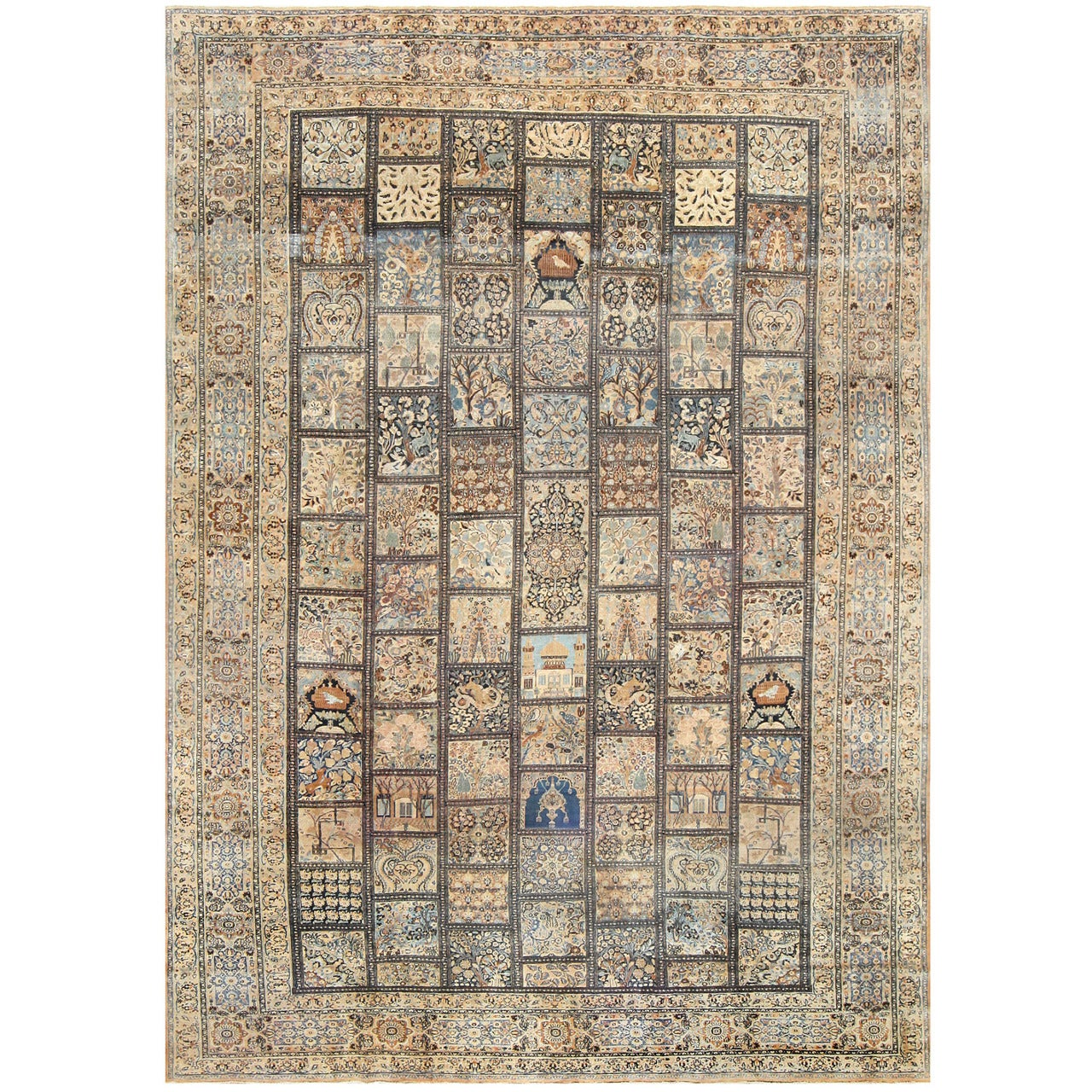 Antique Persian Khorassan Garden Design Carpet. Size: 10 ft 8 in x 15 ft 1 in