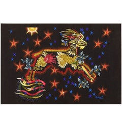 Jean Lurcat Vintage Tapestry. Size: 7 ft 4 in x 5 ft (2.24 m x 1.52 m)