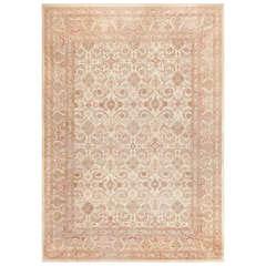 Ivory Background Antique Indian Amritsar Rug