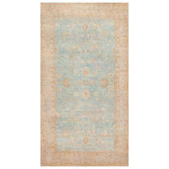 Large Antique Sky Blue Persian Kerman Carpet
