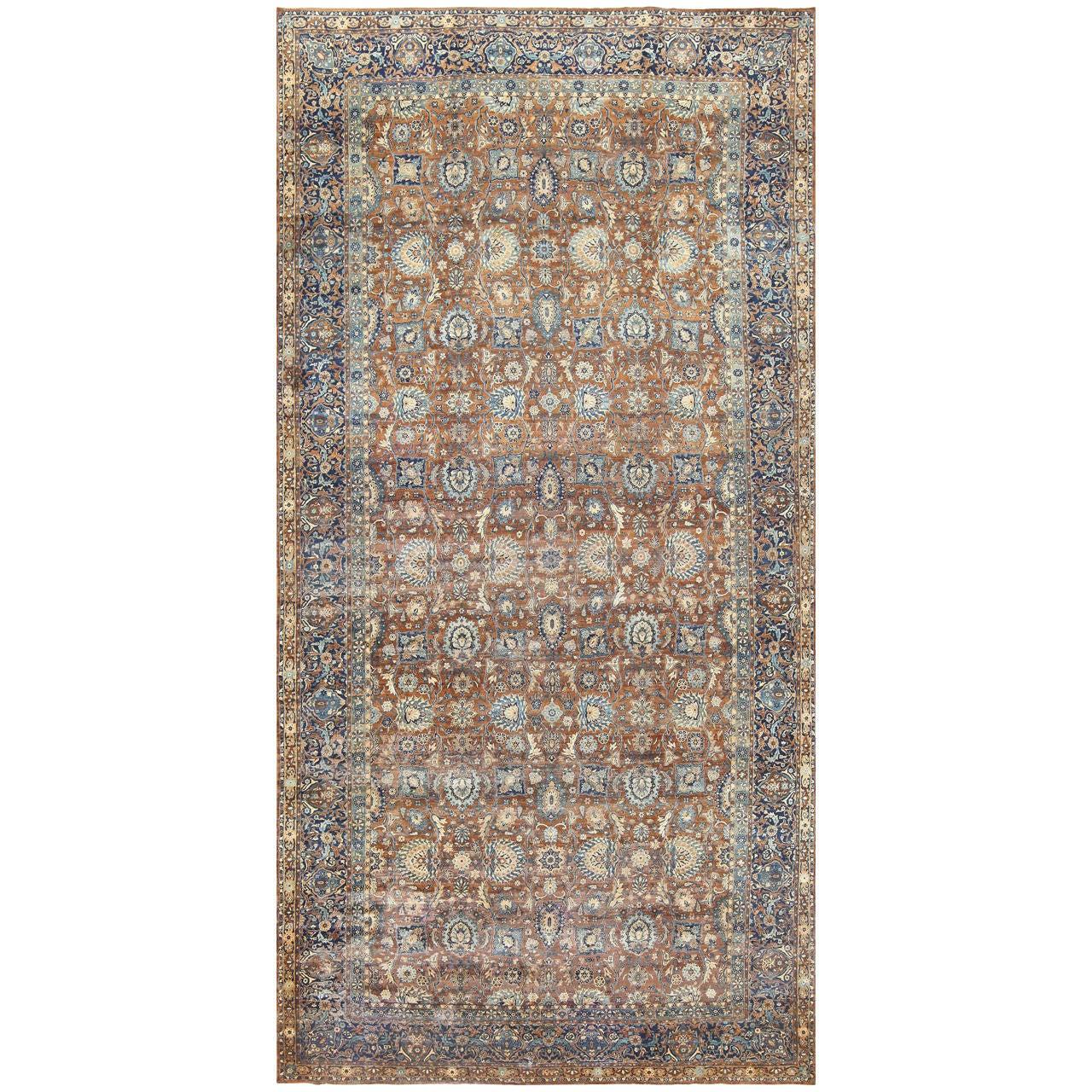 Beautiful Earth-Tone Oversized Antique Persian Kerman Carpet