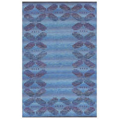 Midcentury Blue Backgroung Double-Sided Vintage Scandinavian Rug