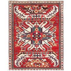 Antique Caucasian Chelaberd Eagle Kazak Rug