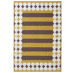 Vintage Double-Sided Rugby Striped Swedish Kilim
