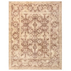 Antique Room Sized Indian Agra Rug. Size: 9 ft 2 in x 11 ft 8 in