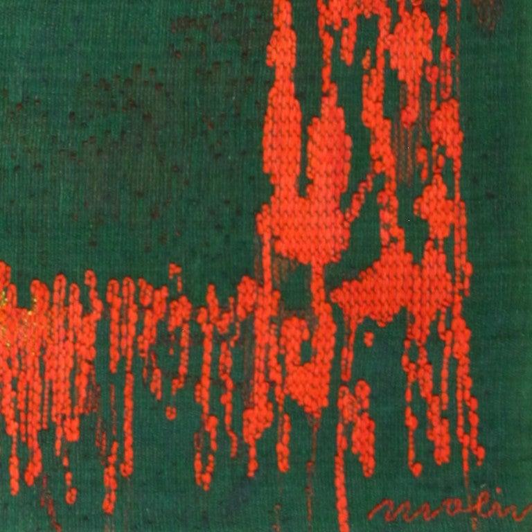 "Swedish ""Night Mirror"" by Brita Molin Vintage Scandinavian Carpet For Sale"