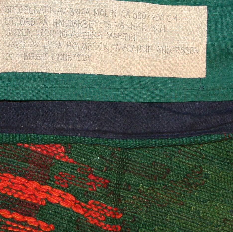 "20th Century ""Night Mirror"" by Brita Molin Vintage Scandinavian Carpet For Sale"
