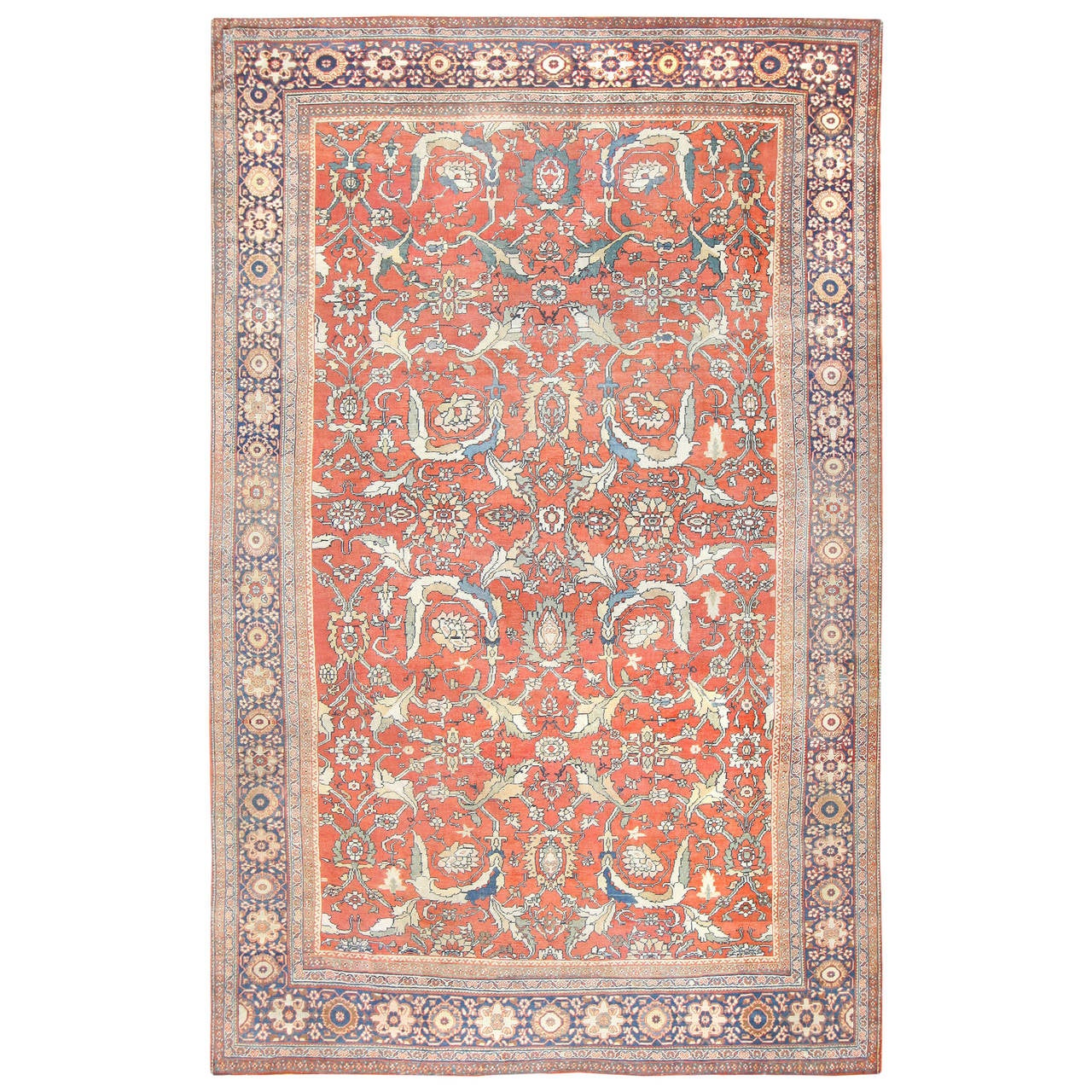 Royal Border Oriental Rug By Rug Culture: Beautiful Rust Background Antique Sultanabad Persian Rug