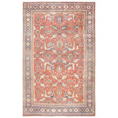 Beautiful Rust Background Antique Sultanabad Persian Rug