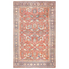 "Beautiful Rust Background Antique Sultanabad Persian Rug. Size: 11' 10"" x 19'"