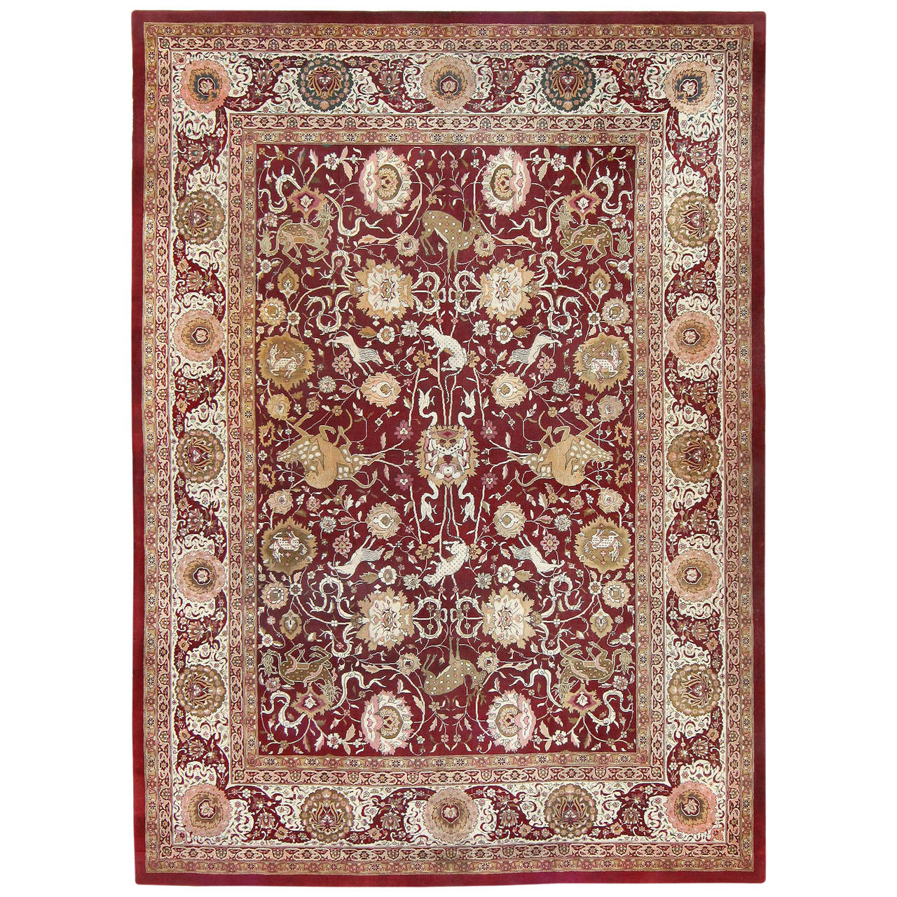 Animal Patterned Room Sized Antique Indian Agra Rug For