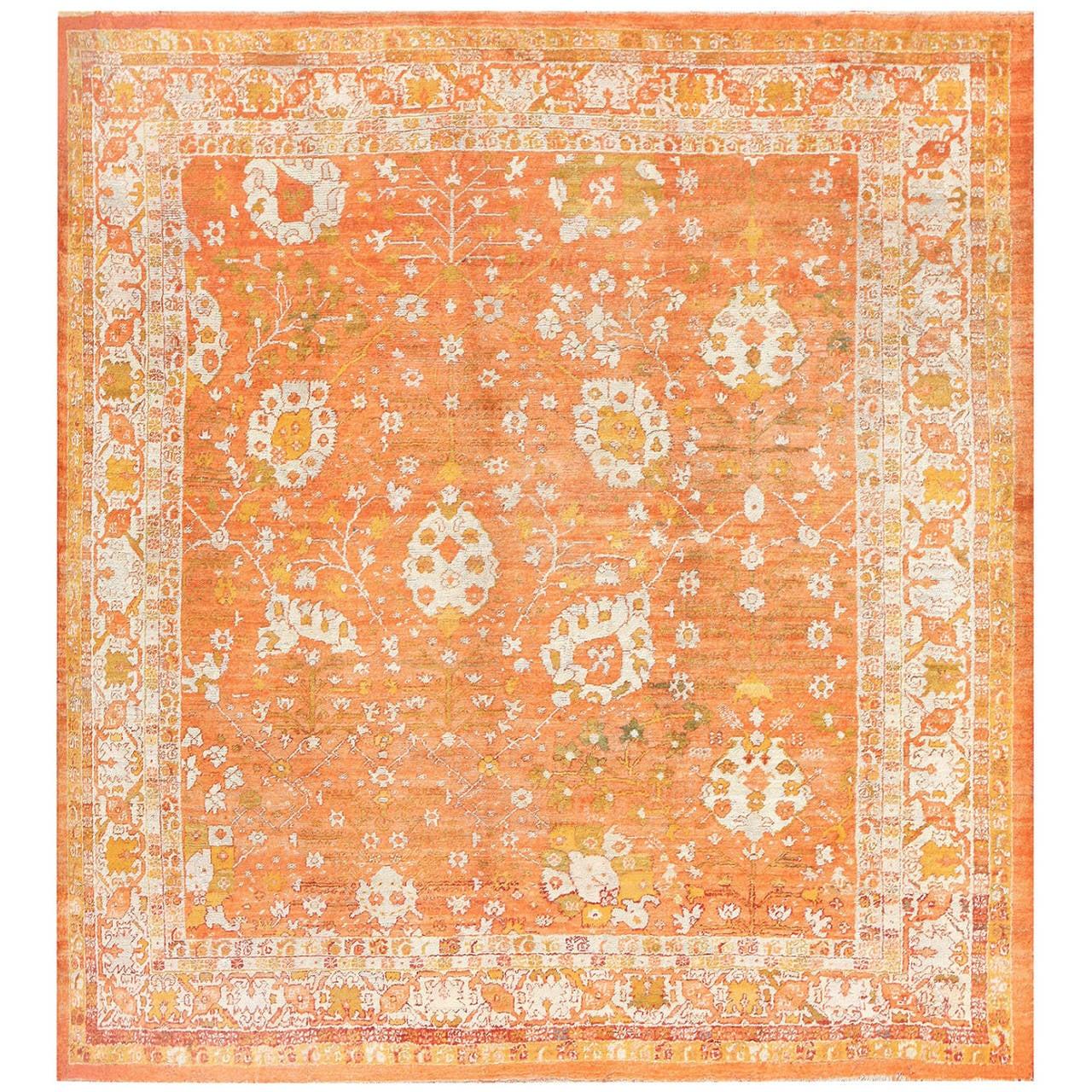 Oushak Rugs For Sale: Orange Background Angora Antique Turkish Oushak Rug At 1stdibs
