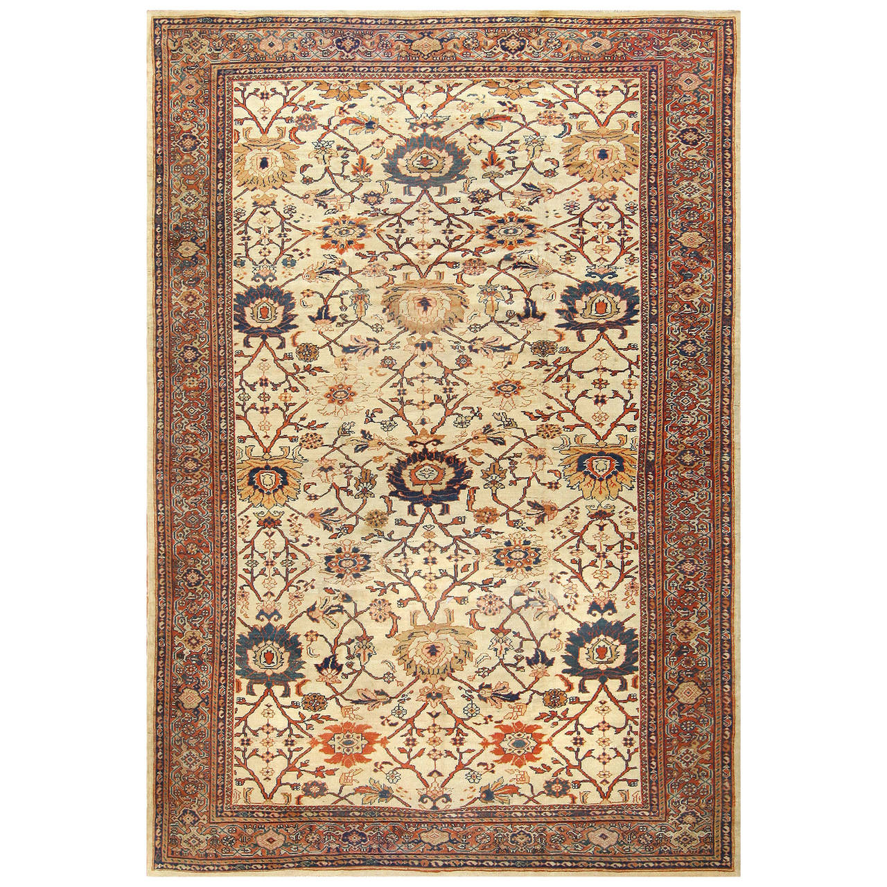 Ivory Background Antique Sultanabad Persian Carpet For