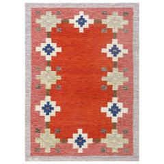 Red Geometric Design Vintage Swedish Kilim