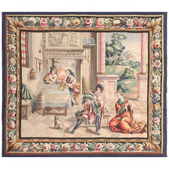 Beautiful Scenic Antique French Tapestry