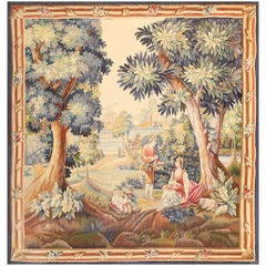 """Lovely Pastoral Silk and Wool Antique French Tapestry. Size: 6' 3"""" x 6' 8"""""""