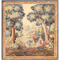 Lovely Pastoral Silk and Wool Antique French Tapestry
