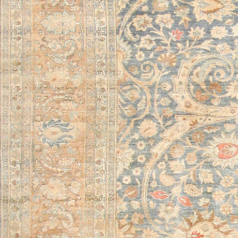 Beautiful Light Colored Antique Persian Khorassan Rug At