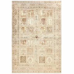 Large Antique Tabriz Garden Design Persian Rug