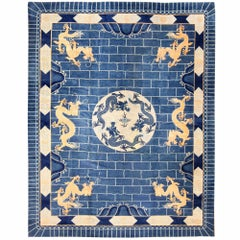 Antique Dragon Design Chinese Art Deco Rug. Size: 12 ft x 15 ft 4 in