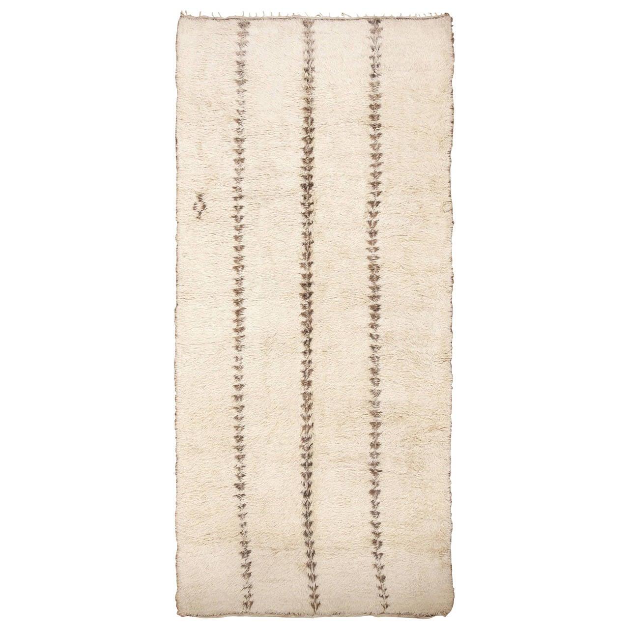 Minimalist Tribal Vintage Moroccan Rug For Sale