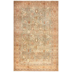 Gorgeous Antique Grey Background Persian Tabriz Rug