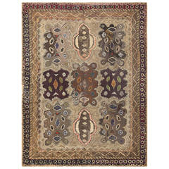 Earthy Antique American Hooked Rug