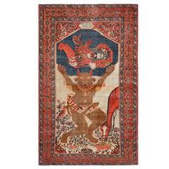 Antique Persian Mythological Sarouk Farahan Rug
