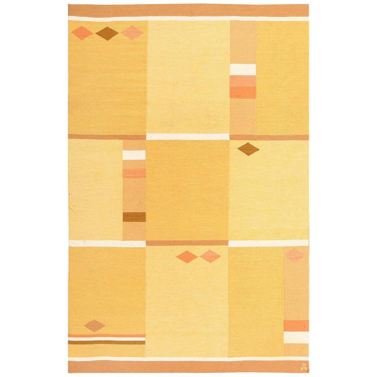 Yellow and Orange Vintage Swedish Rug by Anna Joanna Angstrom