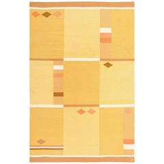 Yellow and Orange Vintage Swedish Rug by Anna Joanna Angstrom