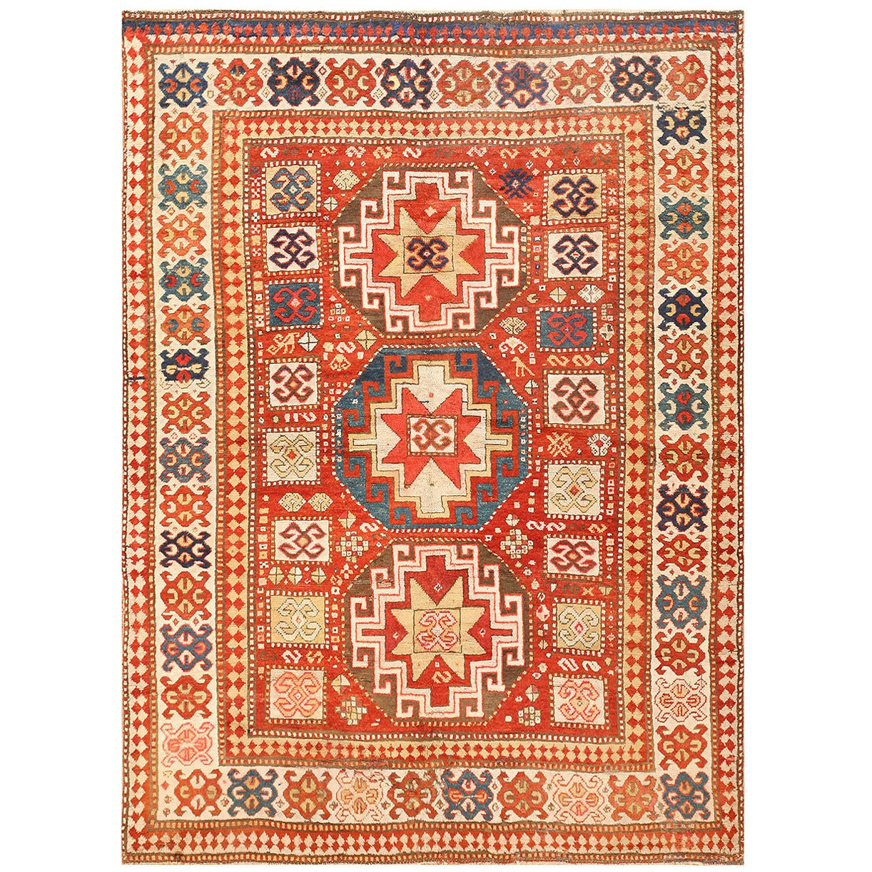 Antique Tribal Kazak Rug