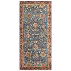 Luxurious Blue Oriental Antique Indian Agra Rug