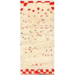 Ivory and Red Vintage Moroccan Rug