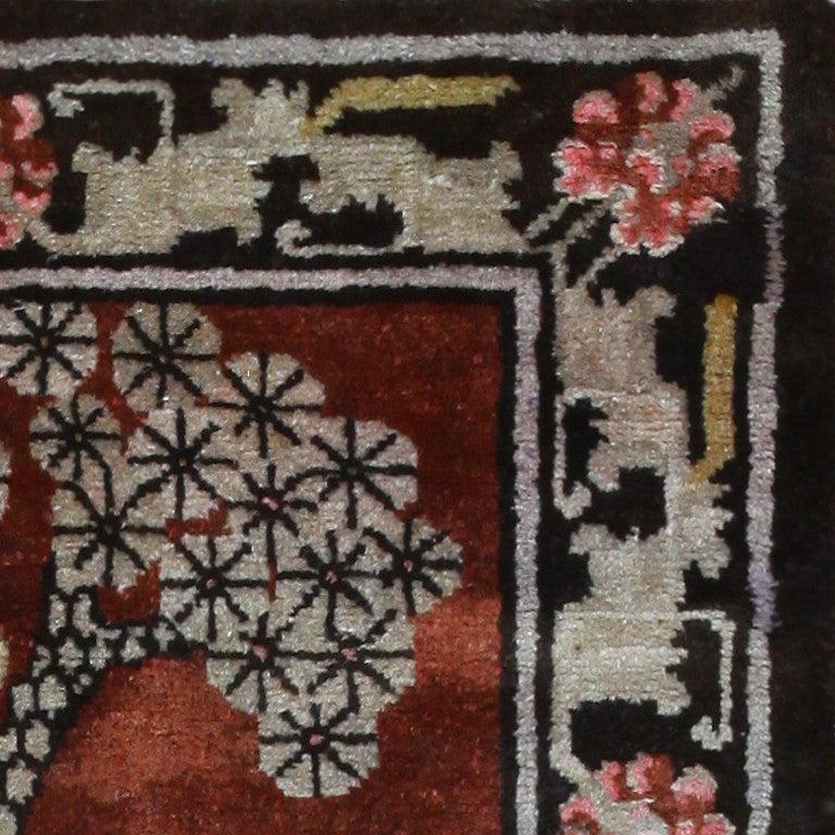 Antique Tibetan Rug with Tiger Design For Sale 1